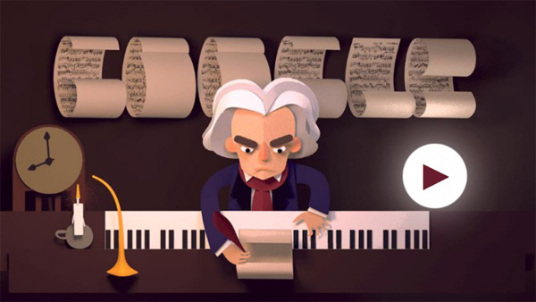 Google Doodles Celebrating Ludwig van Beethoven's 245 Year