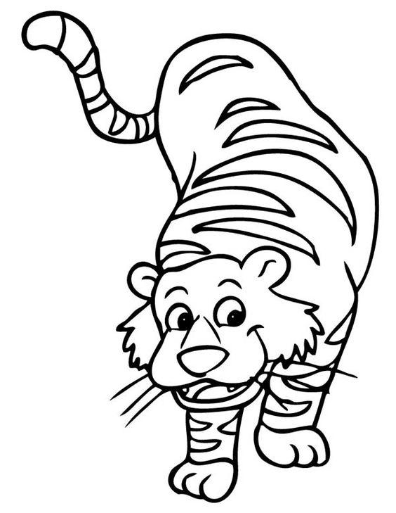 Tranh tô màu con hổ đang đi