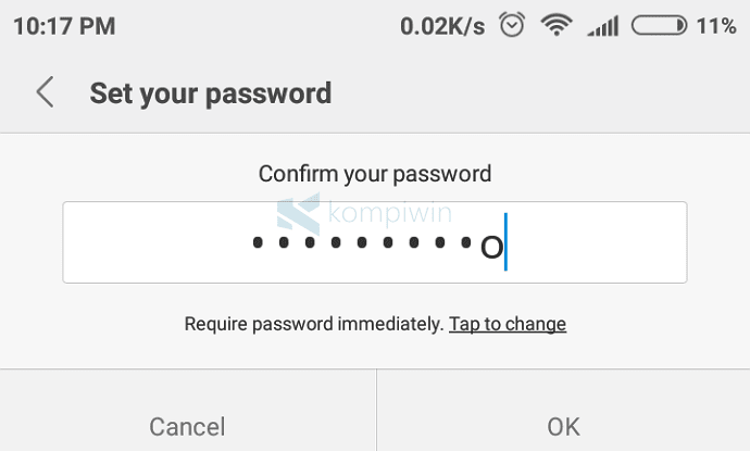 password baru android