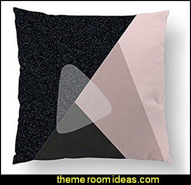 Pink Black Pillow, Abstract Decor, Decorative Pillow