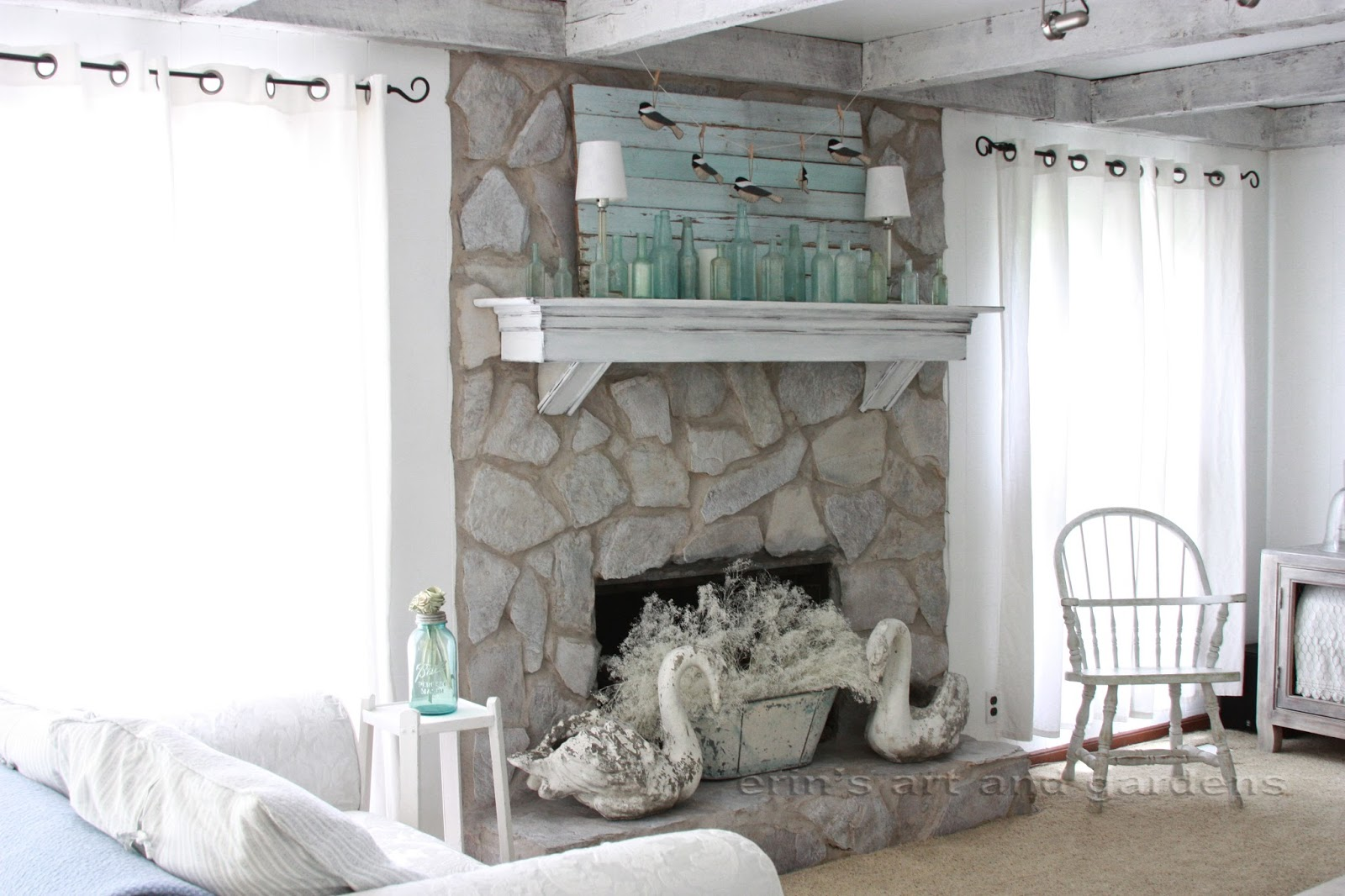 Erin S Art And Gardens Chalk Painted S Stone Fireplace