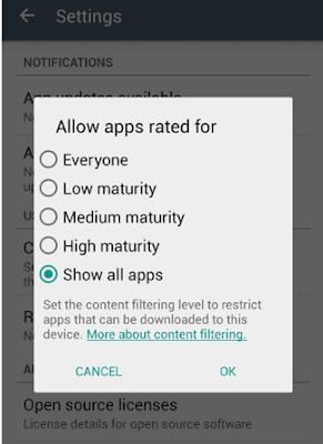 Comment activer le filtrage de contenu sur le Google Play Store