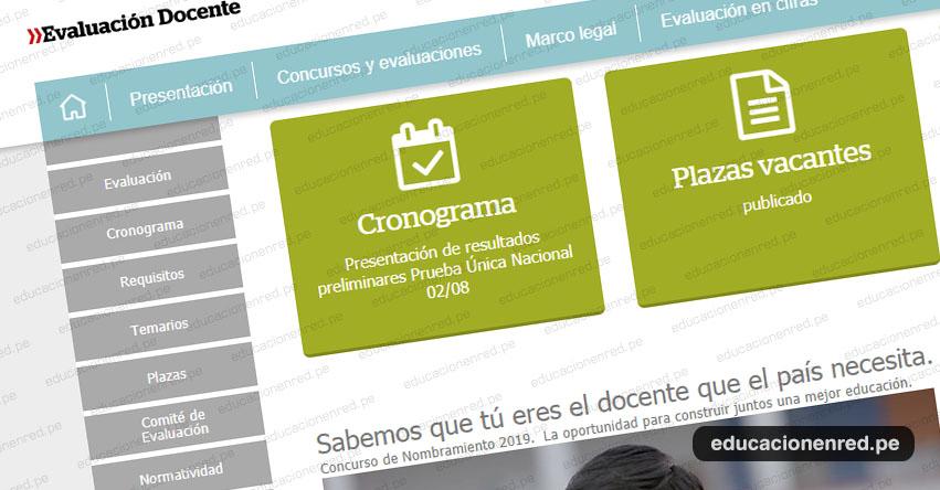 NOMBRAMIENTO DOCENTE 2019: Mañana Viernes 2 Agosto publicarán los resultados preliminares de la Prueba Única Nacional, www.minedu.gob.pe