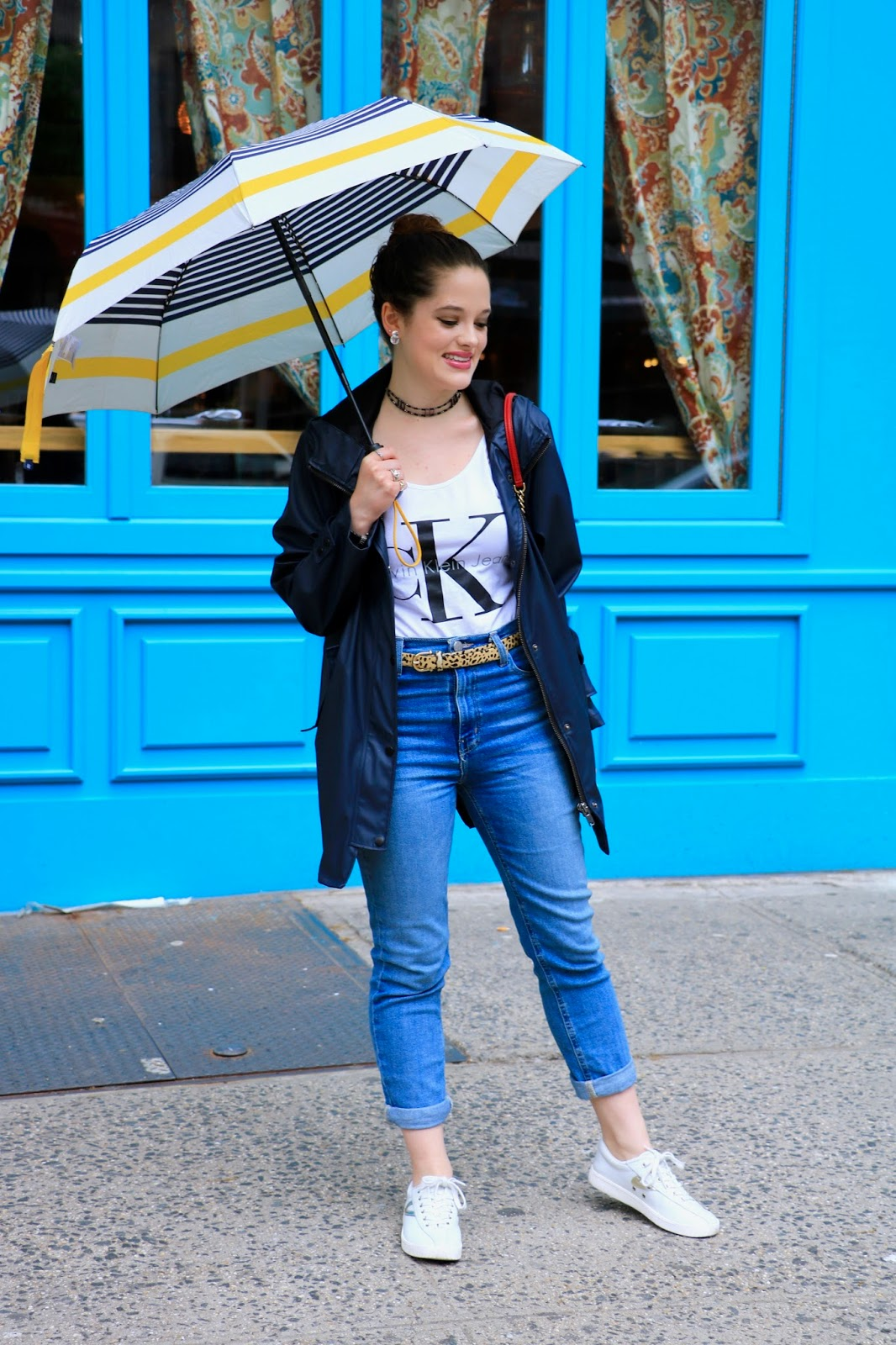 NYC fashion blogger Kathleen Harper wearing a rainy day outfit