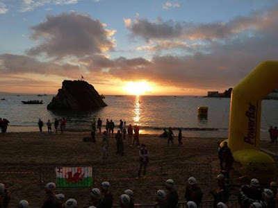 IronMan, Tenby, Wales, at sunset
