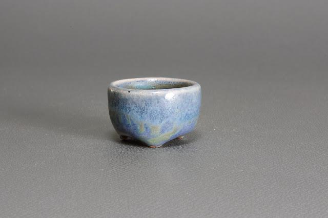 トルコ紺釉丸盆栽鉢(Turkish blue glaze bonsai pot)h1529)