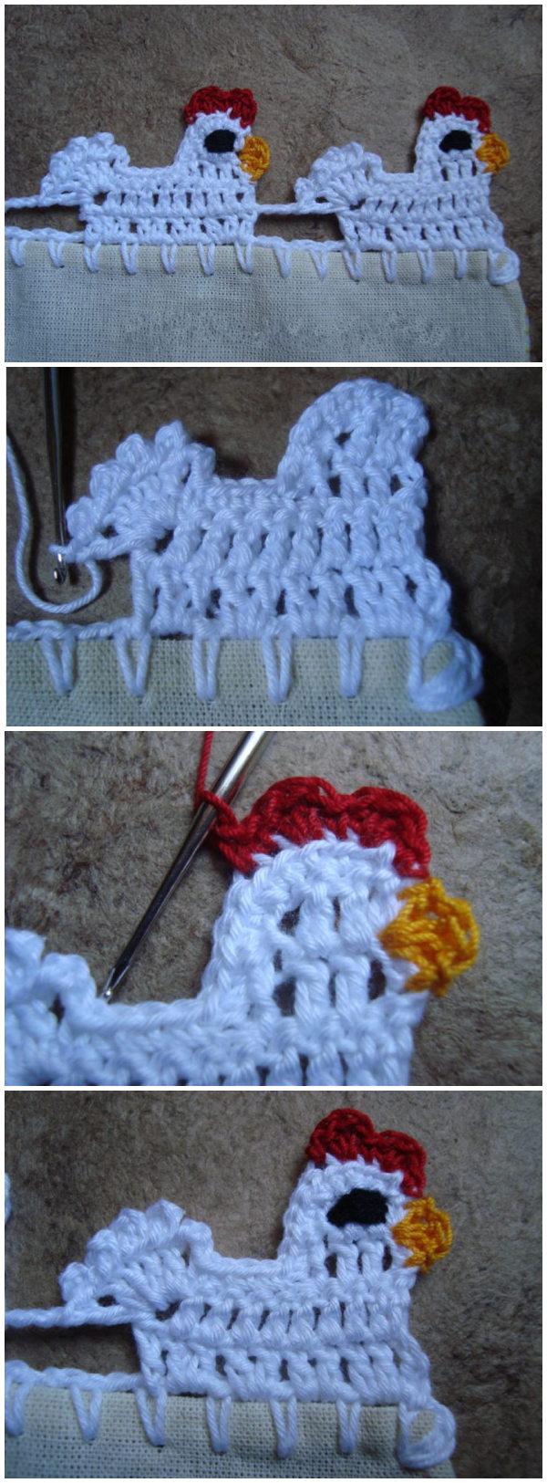 Crochet Chicken Border