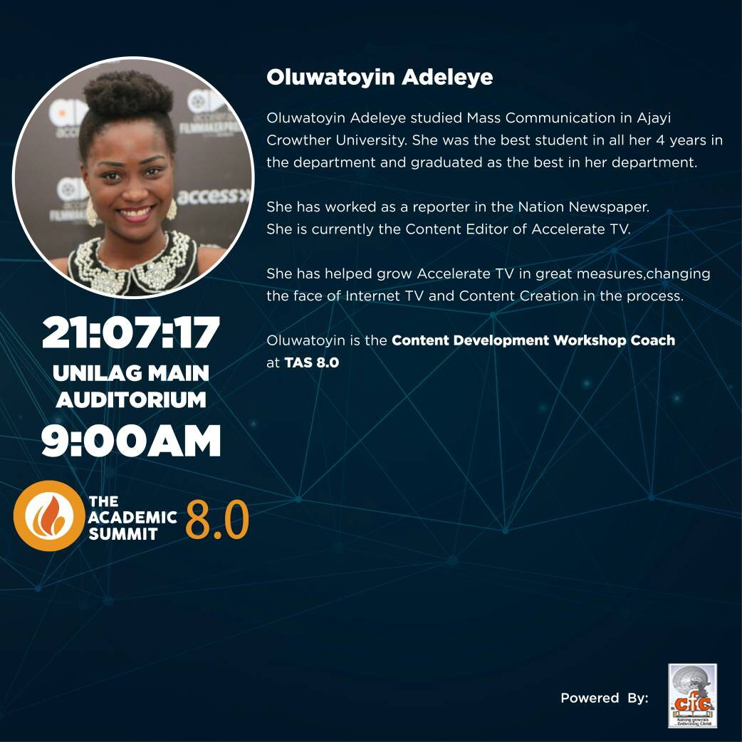 Toyin Adeleye Will Be Coming To The Academic Summit 8.0!