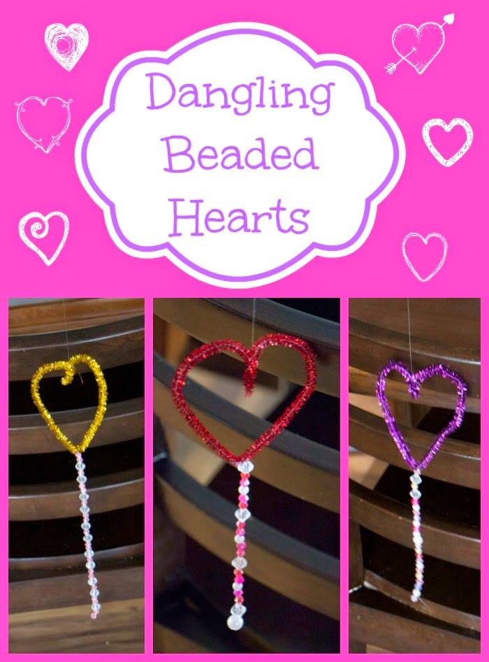 Kids can make these Sweet Dangling Beaded Heart Decorations