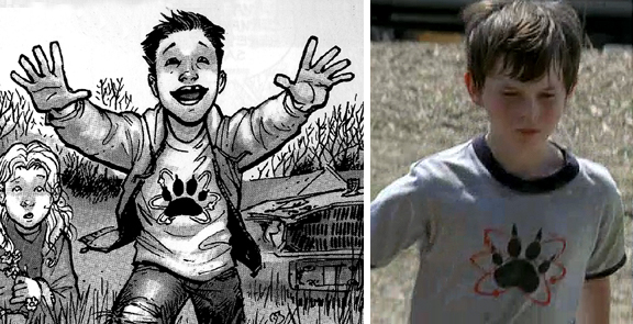 Rick's son, is wearing a Science Dog t-shirt