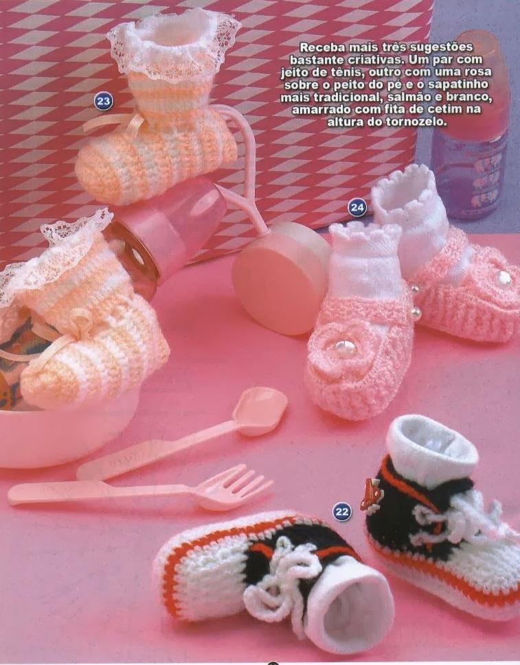 Sapatinhos de Crochê Com Gáfico Para Bebês