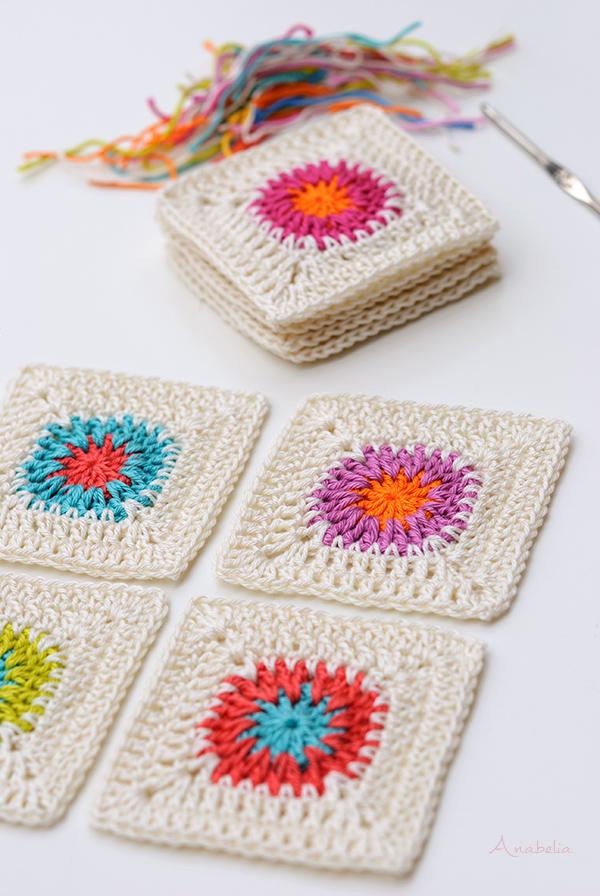 Crochet square motifs, Anabelia Craft Design