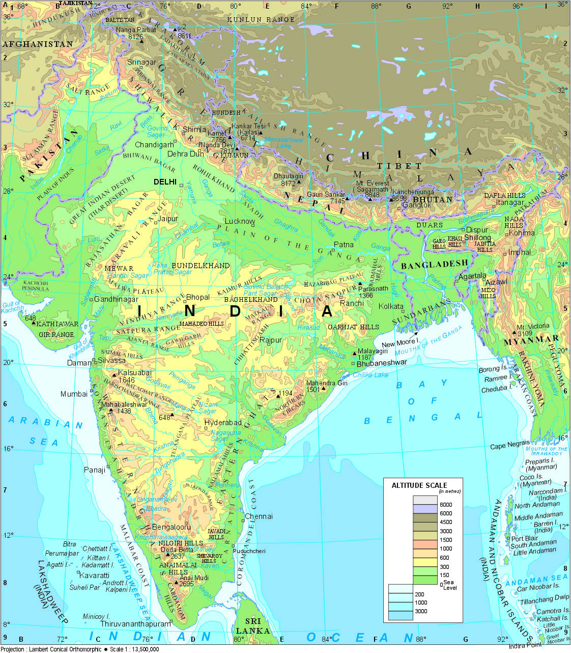 free physical map of india coloring pages