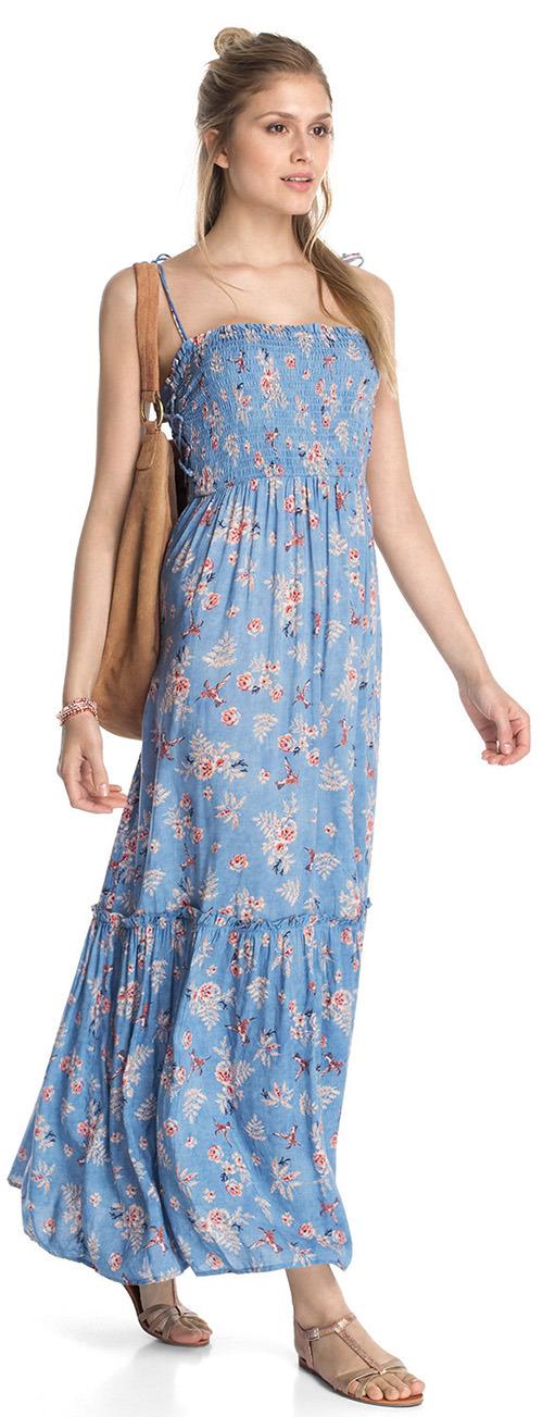Robe longue Esprit bleu à fleurs et fines bretelles