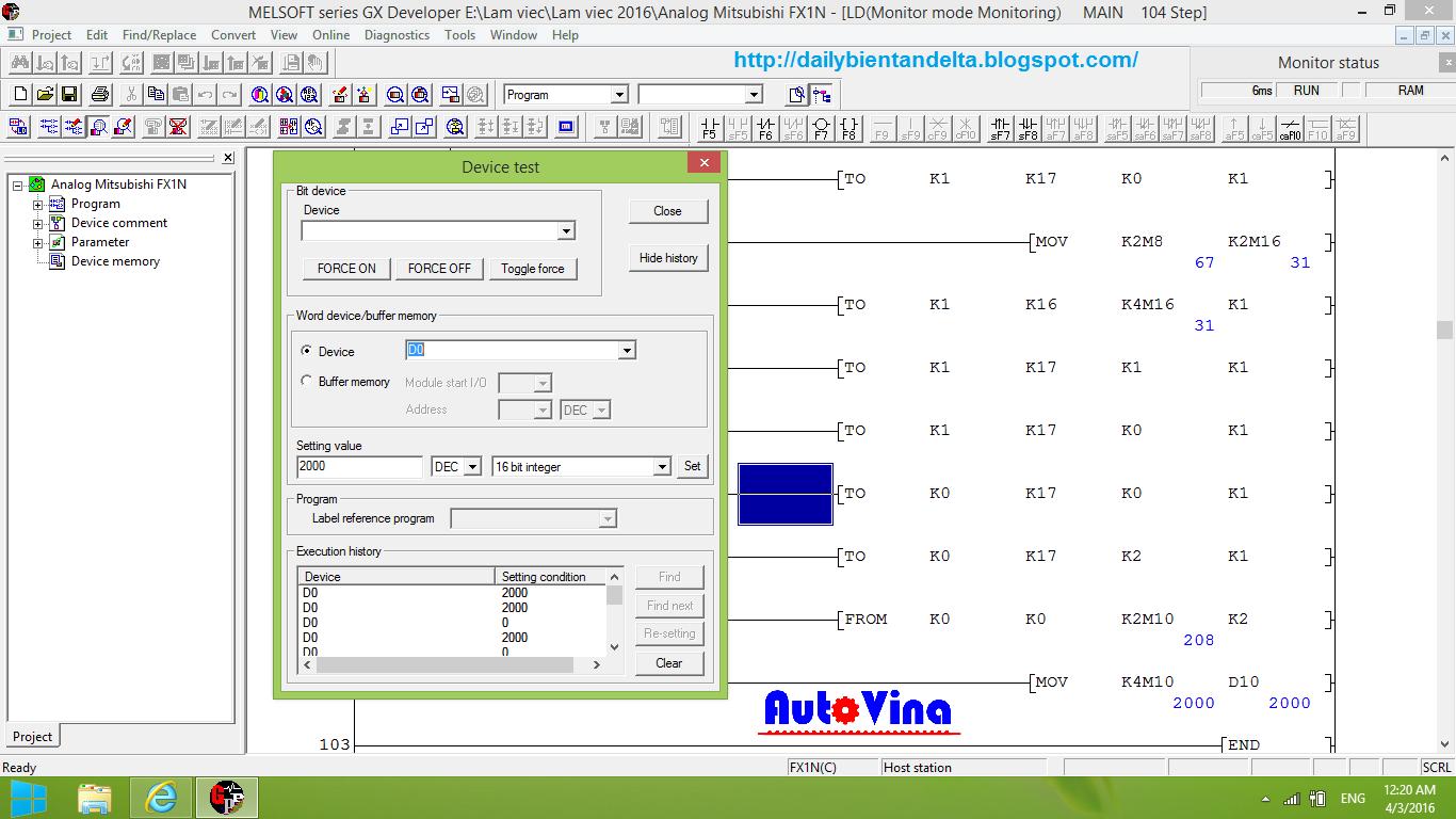 Hướng dẫn mô phỏng Online PLC Mitsubishi với máy tính nhập giá trị vào thanh ghi