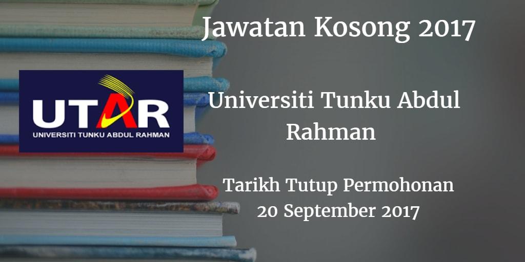 Jawatan Kosong Universiti Tunku Abdul Rahman 20 September 2017