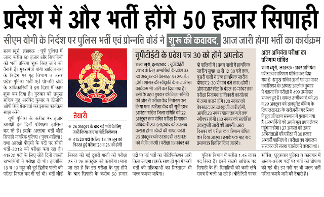UP Police  Notification 2019 | 50000 Vacancies Expected To Be Released Soon