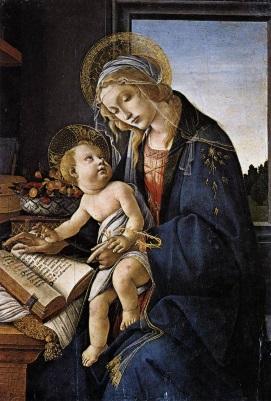Maria ensinando Jesus a ler.