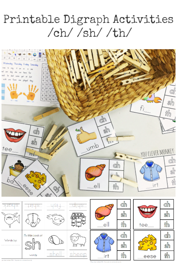 Letter Sounds - Digraphs - /ch/sh/th/ Over 60 pages of ready to print activities for the classroom or homeschool. Teaching ideas for use included for each activity. Great for Daily 5 Word Work or literacy centres | you clever monkey