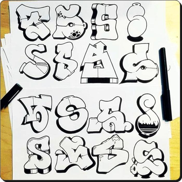 Graffiti-Alphabet Zeichnen von Graffiti-Buchstaben ABC