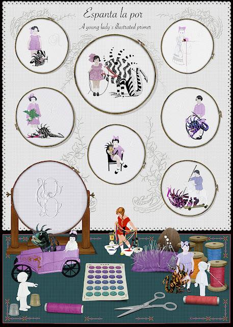 zurcir coser y bordar, labores femeninas