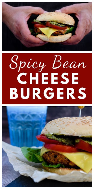 Smoky red pepper, cheese and bean burgers. These juicy, smoky veggie burgers are easy to make and great served stacked high in buns. They are good for grilling on the BBQ too. Vegan and vegetarian. #BBQburger #veganBBQ #vegetarianBBQ #BBQ #BBQrecipes #easyBBQrecipes #beanburgers #vegancheeseburgers