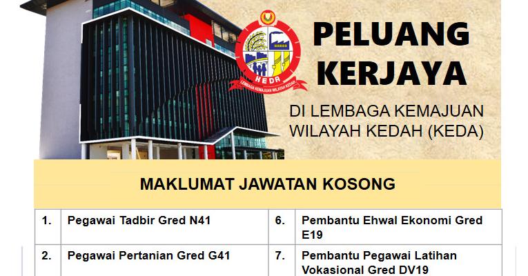 Jawatan Kosong di Lembaga Kemajuan Wilayah Kedah KEDA