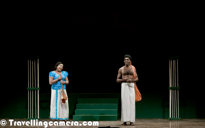 Although it's late but it's better to be late than never :) ... So here comes the last Photo Journey from Bharat Rang Mahotsav 2012. This was a Malayalam Play directed by V. Abhimanyu and Playright by M.N.Vinayakumar... Let's check out this Photo Journey with more details about this play Marimankanni...The story of Marimankanni begins with the casual conversation of a group of youngsters who are discussing kathakali and Unnayi Warrier and who fall asleep at the end of discussion... These folks were having some dricks during the conversation and at times there were some hot arguments... Soon the palace of Karthika Thirunal, Maharaja of Travancore and the period when Nalacharithram, one of the masterpieces of Malayalam literature, was written by Unnayi Warrier unfold before them as dreamscapes. Bhanumathi, a woman who appears as a maid in the palace, acts as Unnayi Warrier's muse. The mystic and tragic story of Bhanumathi is interspersed with illustrative examples of women who were physically, intellectually, socially, emotionally oppressed by the shackles of society...Marimankanni is an exploration into the circumstances in which Nalacharitham was written. It depicts the historicity of the theme with a touch of fantasy, while adapting it to a contemporary mode of presentationJanabheri started out as a Kathakali promotion and performance group and later moved into theater. The group has organized Kathakali performances in over 500 venues. Its first theater venture was Marimakanni, based on the life and work of the legendary poet Unnai WarrierMarimankanni Play was staged in Kerala Kalamandalam and Ashirwad Theatre festival, Bihar. This play was also selected in International Theater Festival of Kerala (ITFoK). Janabheri has also produced an adaption of the play 'The Lover' by Harold Pinter. It's next prodcution, Yamadhoothu, an adaption of OthelloV. Abhimanyu, Director of this play. started his theater career aCast of the play includes Here is small trailer video of this play -YOU MAY ALSO WANT TO CHECK RED HOT - A Must-See play duirng 14th Bharat Rang Mahotsav 2012 || An Amazing Indian Theatre Play 'Grotowski - A Attempt to Retreat' by CHOREA Thenal School of Drama, Delhi, India || 14th Bharat Rang Mahotsav organized by National School of Drama, Delhi, IndiaSaurabh Shukla and Prieti Mamgain during RED HOT play at Kamani, Delhi || 14th Bharat Rang Mahotsav organized by National School of Drama, Delhi, India (RENDEZVOUS-3)RED HOT - Adapted from Neil Simon's 'Last of the Red Lovers' - Directed by Saurabh Shukla || 14th Bharat Rang Mahotsav organized by National School of Drama, Delhi, India (RENDEZVOUS-1)'The Water Station' - Directed by Shankar Venkateswaran || 14th Bharat Rang Mahotsav organized by National School of Drama, Delhi, INDIChandalika : A Bangla Play during 14th Bharat Rang Mahotsav 2012 @ National School of Drama (NSD), Delhi, IndiaAmazing Inauguration of 14th Bharat Rang Mahotsav @ Kamani (Organized by National School of Drama) || 8th Jan to 22nd Jan' 2012CHOREA Theatre Association (Lodz, Poland) presented a 'Grotowski - An Attempt to Retreat' during 14th Bharat Rang Mahotsav organized by National School of Drama, Delhi, Indiaरेड हॉट - नील साइमन के लास्ट ऑफ़ द रेड हॉट लवर्स का रूपांतरण - सोरभ शुक्ला द्वारा निर्देशित || १४वा भारत रंग महोत्सव, राष्ट्रीय नाट्य विद्यालय (दूसरी भेंट)Byomkesh; A Bengali Play Directed by Bratya Basu || 14th Bhartiya Rang Mahotsav 2012, Organized by National School of Drama'King of the Dark Chamber' on 8th Jan 2012 at Kamani || 14th Bharat Rang Mahotsav organized by National School of Drama, Delhi, InNational School of Drama is celebrating Tagore's 150th Birthday in Bharat Rang Mahotsav