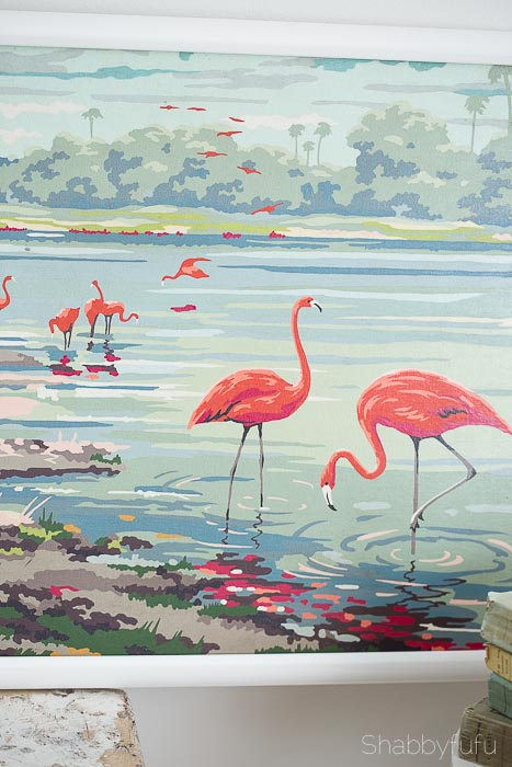 vintage paint by number flamingos