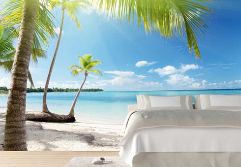 maisematapetti ranta tapetti makuuhuoneen valtameri palm tropiikin 3d kuva taustakuvaksi tausta seinä