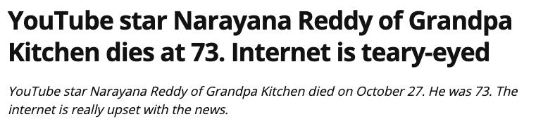 Simple Truth Television Youtube Star Narayana Grandpa Kitchen Reddy Dead At 73