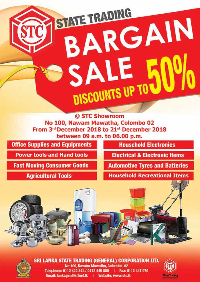Up to 50% off - Bargain Sale at STC Showroom Colombo 02.  State Trading Corporation  #sale #offer #stc
