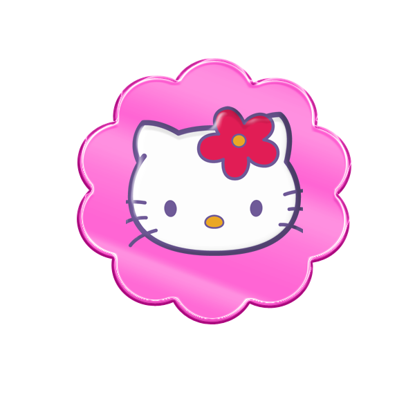 Etiquetas, Botones o Toppers del Clipart de Hello Kitty.