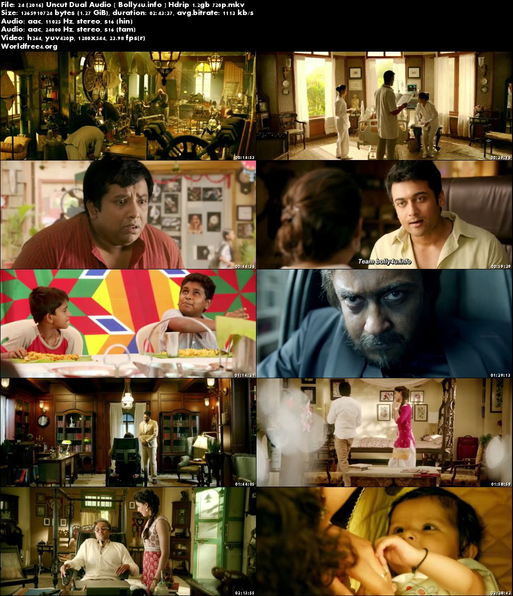 Screen Shoots of Watch Online 24 (2016) HDRip 1.2Gb UNCUT Hindi Dual Audio 720p Free Download Bolly4u.info