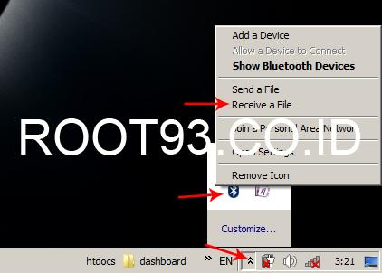 proses pertama mengirim file lewat bluetooth