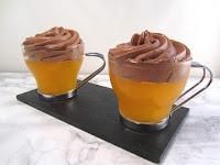 Gelatina de mandarina y mousse de chocolate