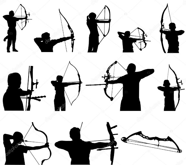 Archery Silhouettes  Stock Vector