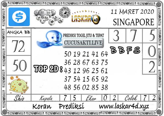 Prediksi Togel SINGAPORE LASKAR4D 11 MARET 2020