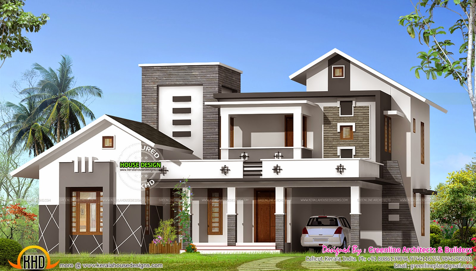 Kerala home design and floor plans 2400 sq ft mixed roof for Find house plans online