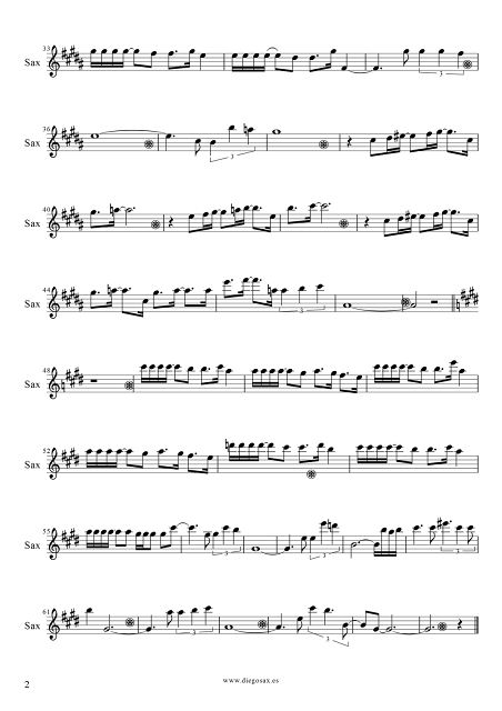 2 Partitura de Vivo por Ella para Saxofón Alto de Andrea Bochelli y Marta Sánchez. Partitura de Vivo Per Lei sheet music alto saxophone (music score). ¡Para tocar junto a la música!