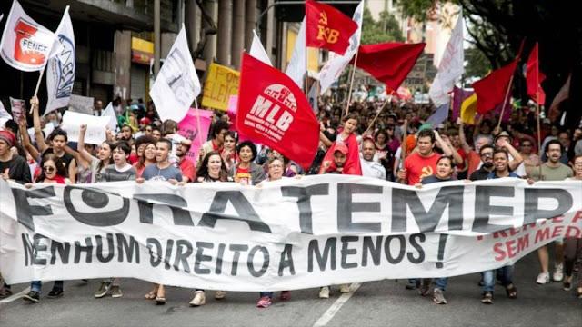Brasileños vuelven a protestar contra reformas laborales de Temer