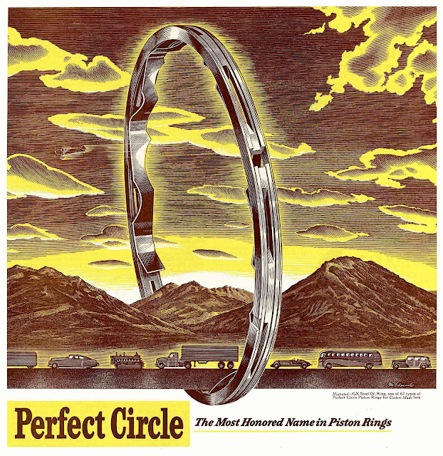 a 1950 color advertisement for Perfect Circle piston rings
