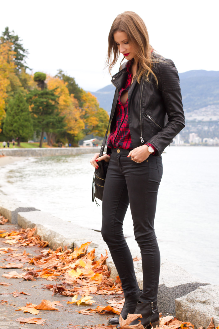 Vancouver Style Blogger, Alison Hutchinson, is wearing a plaid Zara top, topshop black leather moto jacket, faded black Zara jeans, leopard print Rebecca Minkoff bag, and black topshop ankle boots