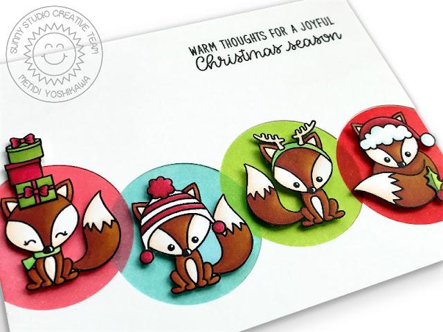 Sunny Studio Stamps: Foxy Christmas Rainbow Circle Holiday Card by Mendi Yoshikawa