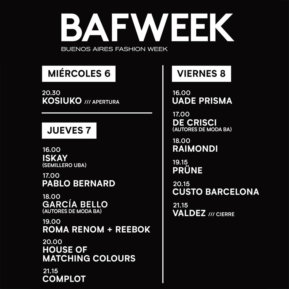 BAFWEEK OTOÑO INVIERNO 2019.
