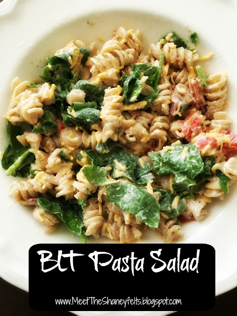 blt pasta salad greek yogurt spinach whole wheat noodles