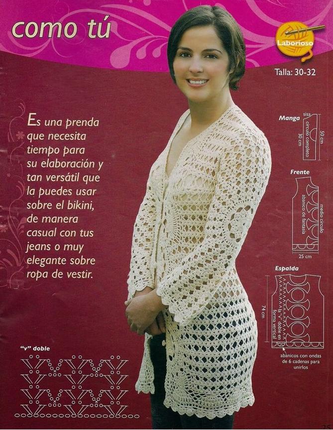 Chaqueta Larga Crochet Instrucciones Patron