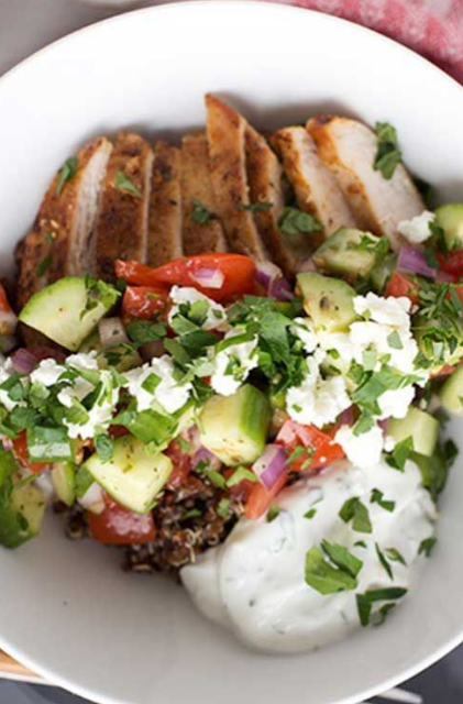 Greek Chicken Quinoa Bowls