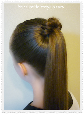 Spindle top ponytail hair tutorial. Quick and easy hairstyle.