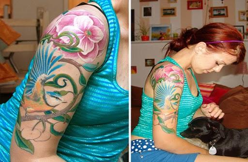 Passaro azul de Manga Tatuagem para Mulheres